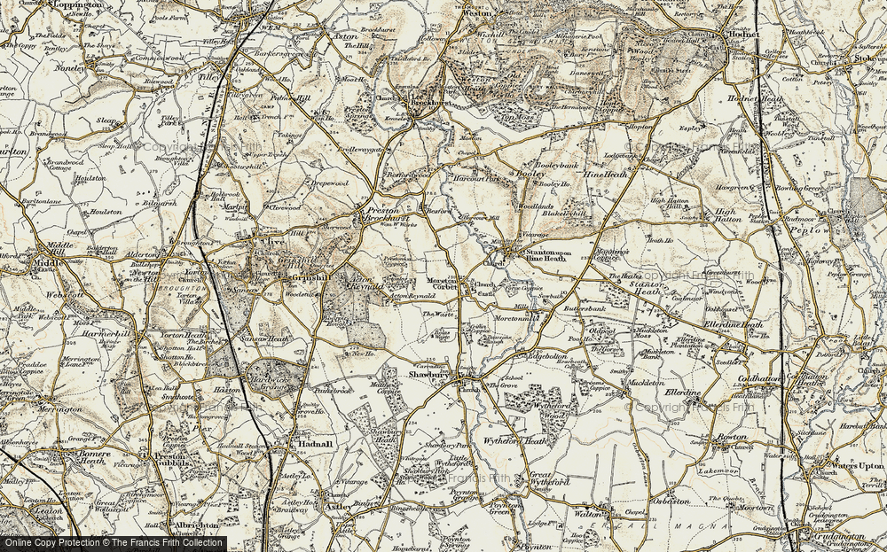 Old Map of Historic Map covering Acton Lea in 1902