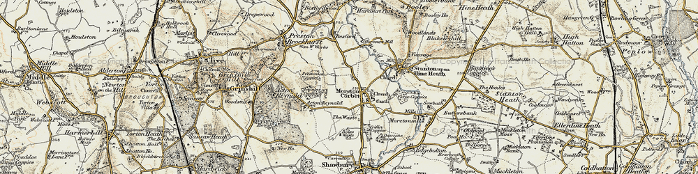 Old map of Moreton Corbet in 1902