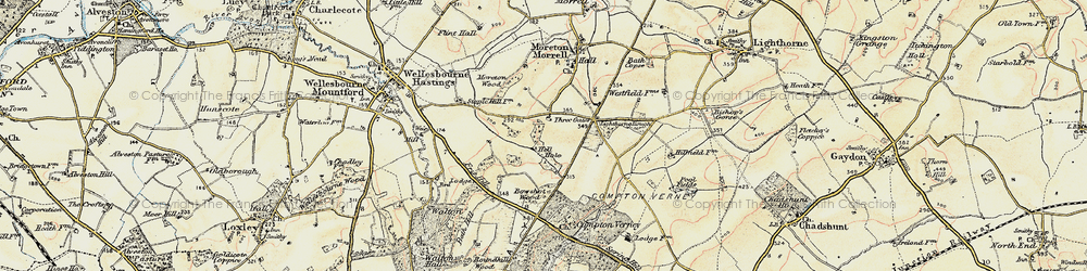 Old map of Moreton Paddox in 1899-1902