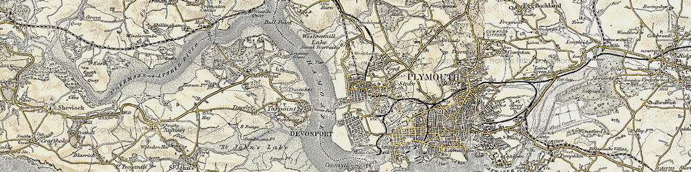 Old map of Morice Town in 1899-1900