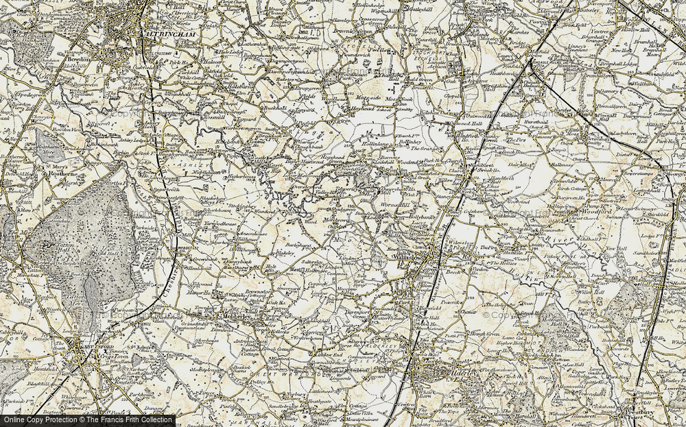 Old Map of Historic Map covering Lindow Moss in 1902-1903