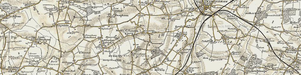 Old map of Wymondham College in 1901-1902