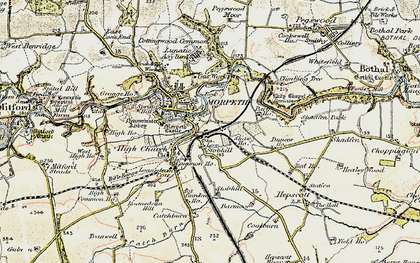Old map of Morpeth in 1901-1903