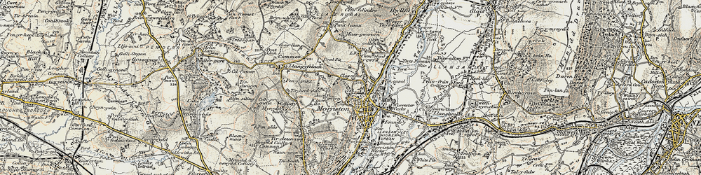 Old map of Morriston in 1900-1901