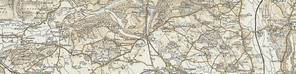Old map of Mortimer's Cross in 1900-1903