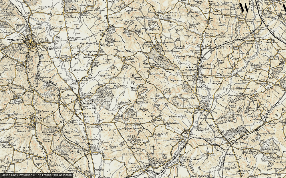 Old Map of Historic Map covering Bannam's Wood in 1899-1902