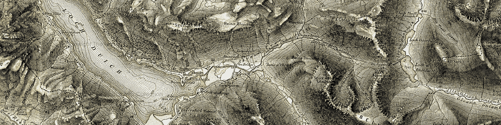 Old map of Allt a' Chaisil in 1908-1909