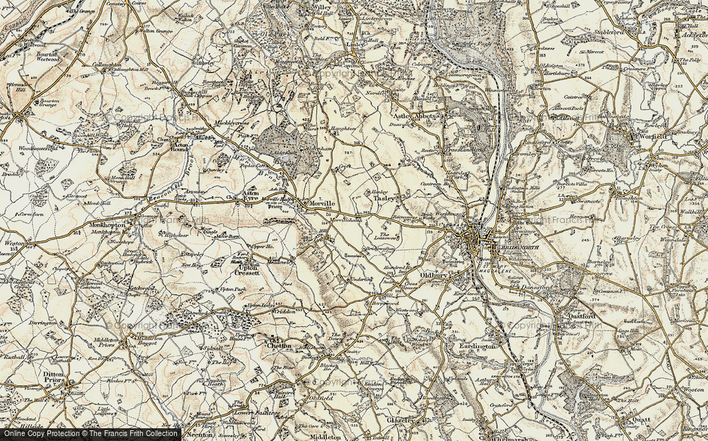 Old Map of Historic Map covering Tiddle Brook in 1902