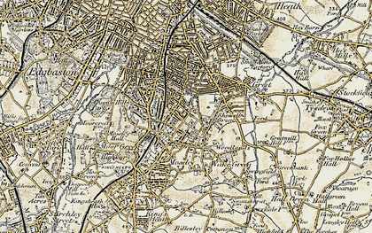 Old map of Moseley in 1901-1902