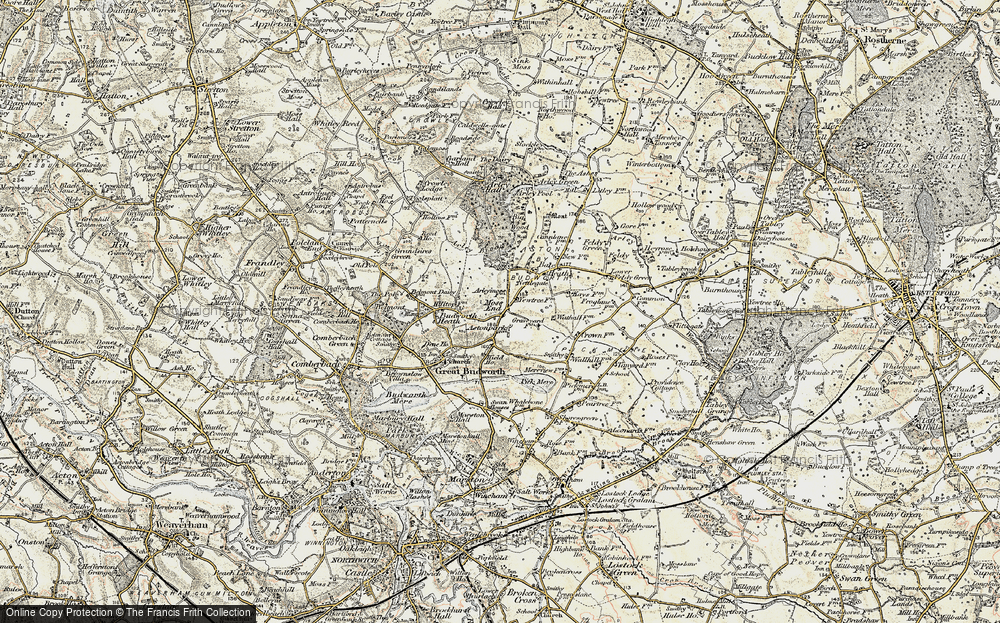 Old Map of Historic Map covering Aston Park in 1902-1903
