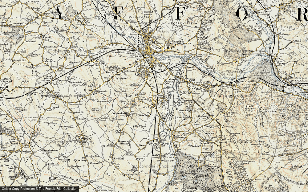 Old Map of Historic Map covering Ashflats in 1902