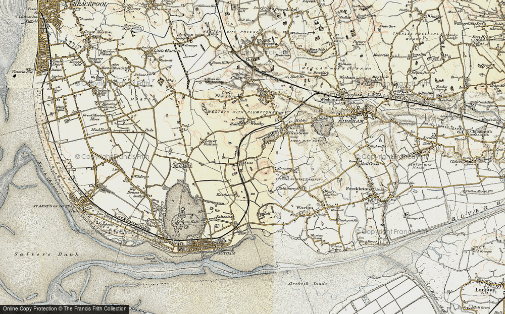 Old Map of Historic Map covering Wrea Brook in 1903