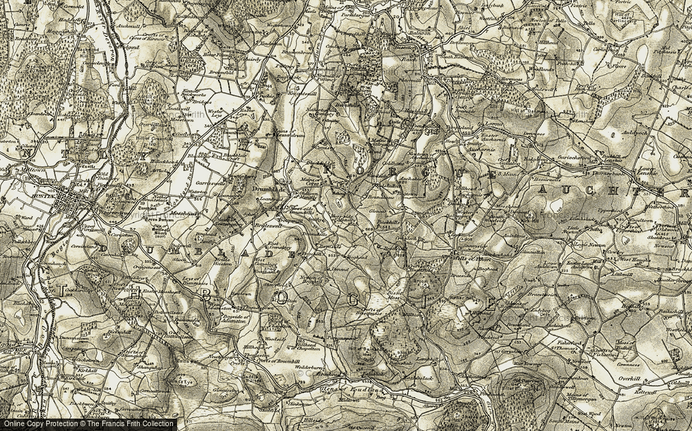 Old Map of Historic Map covering Backhills in 1908-1910