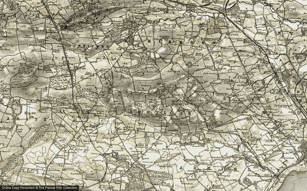 Old Map of Historic Map covering Ascurry Mill in 1907-1908