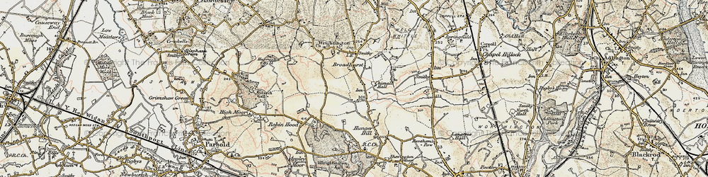 Old map of Wrightington in 1903