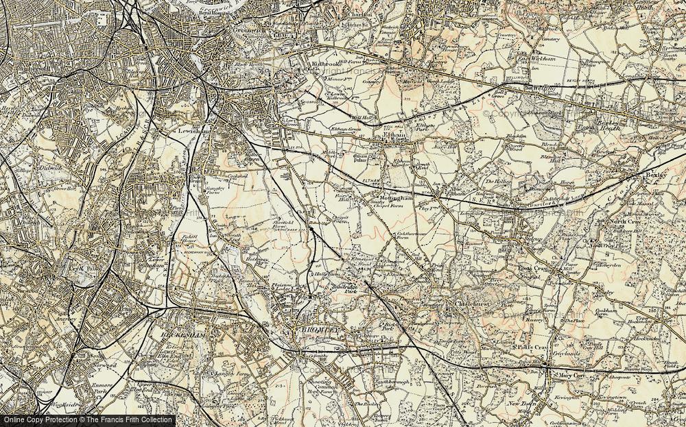 OLD ORDNANCE SURVEY MAPS MOTTINGHAM 1894