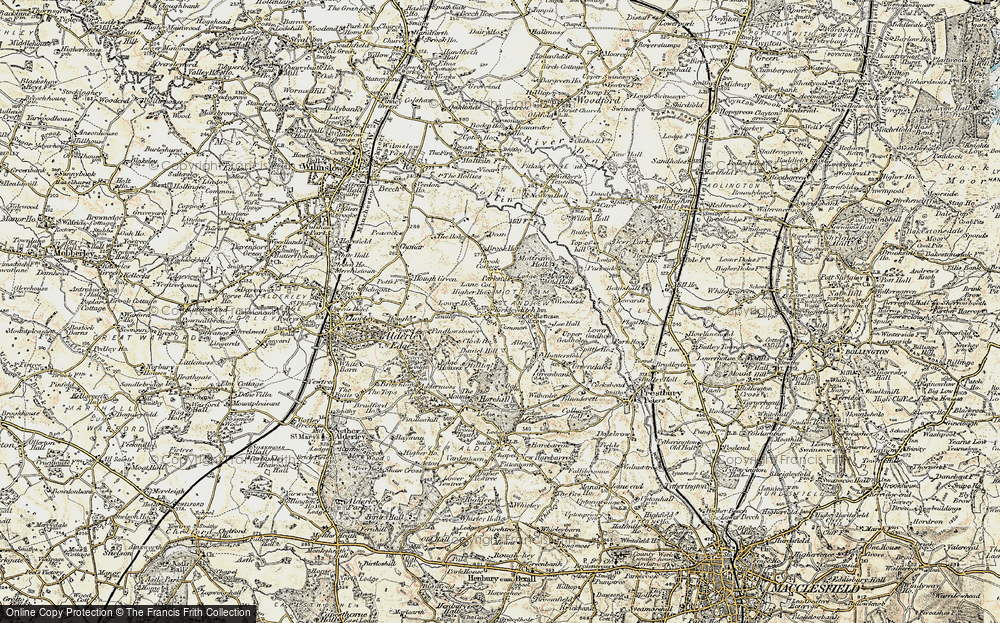 Old Map of Historic Map covering Adder's Moss in 1902-1903