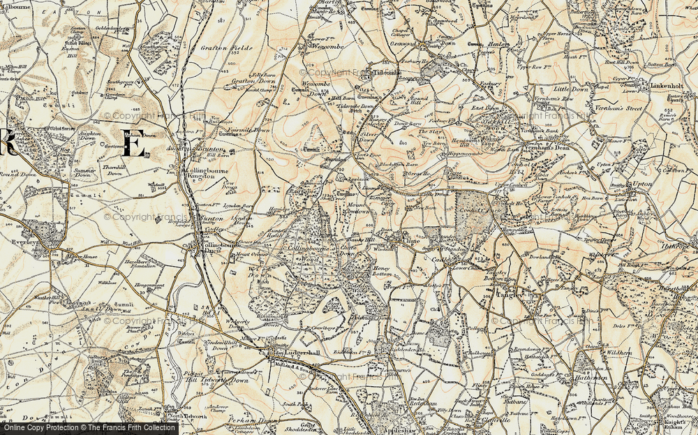 Old Map of Historic Map covering Limmer Pond in 1897-1899