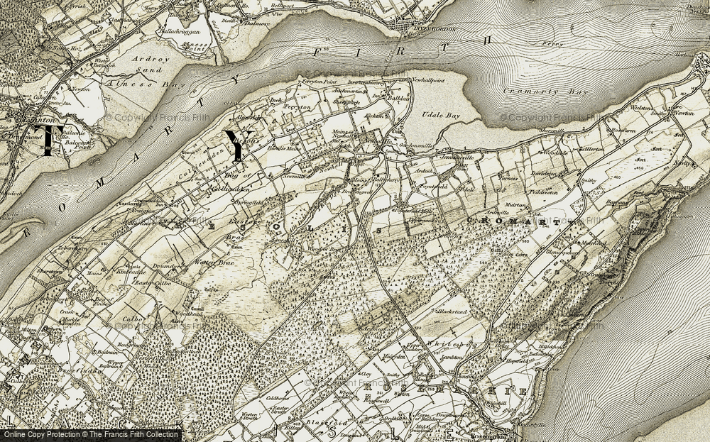 Old Map of Historic Map covering Wood of Brae in 1911-1912