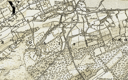 Old map of Wood of Brae in 1911-1912