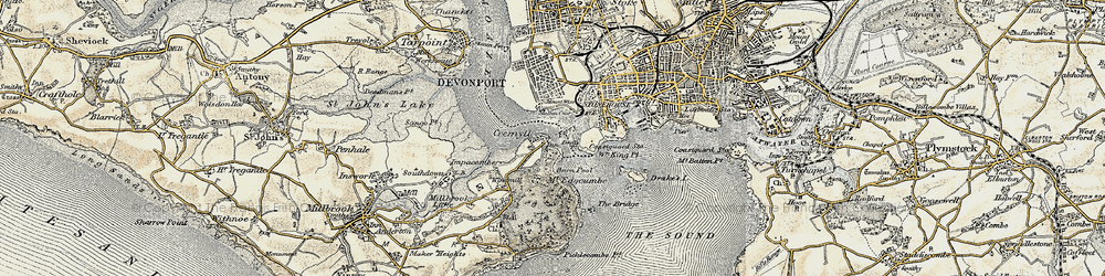 Old map of Western King Point in 1899-1900