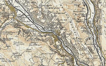 Old map of Mountain Ash in 1899-1900