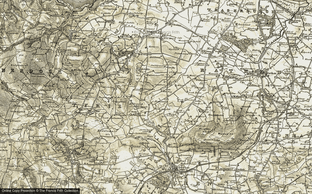 Old Map of Historic Map covering Auchentumb in 1909-1910
