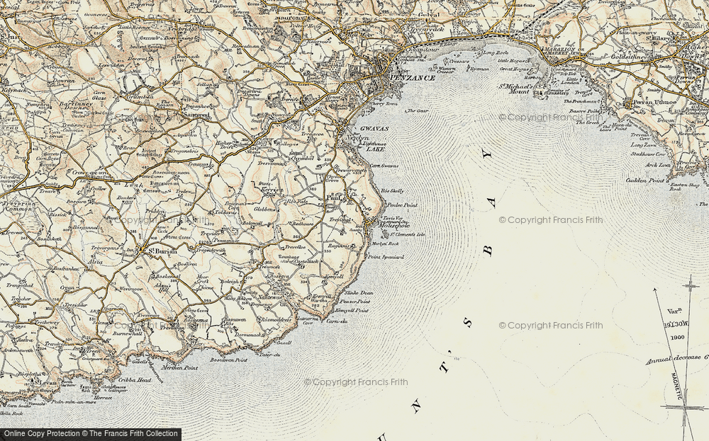 Old Map of Mousehole, 1900 in 1900