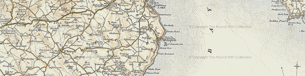 Old map of Mousehole in 1900