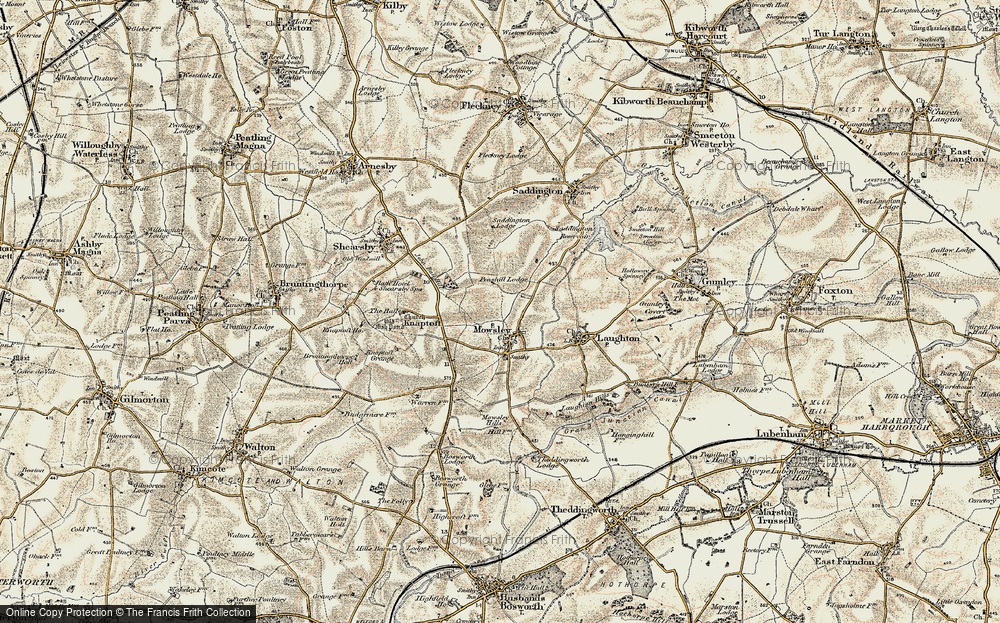Old Map of Mowsley, 1901-1902 in 1901-1902