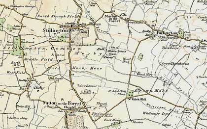 Old map of Whitecarr Beck in 1903-1904