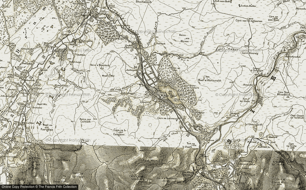Old Map of Historic Map covering Allt Creag Bheithin in 1908-1912