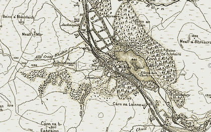 Old map of Allt Creag Bheithin in 1908-1912