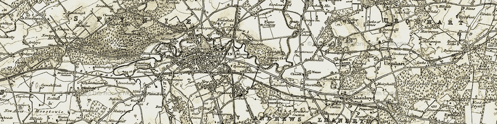 Old map of Wester Calcots in 1910-1911