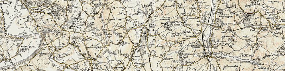 Old map of Much Marcle in 1899-1900
