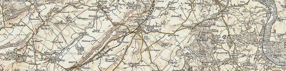 Old map of Much Wenlock in 1902