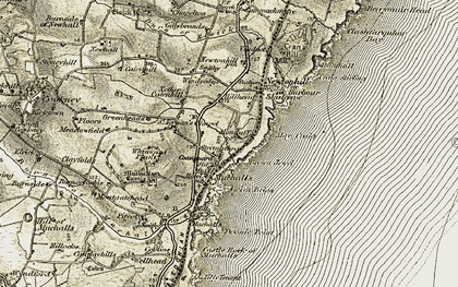 Old map of Muchalls in 1908-1909