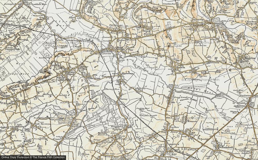 Old Map of Muchelney, 1898-1900 in 1898-1900