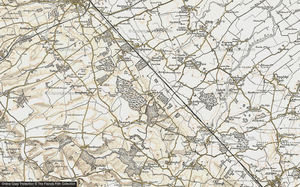 Old Map of Historic Map covering Authorpe Grange in 1902-1903