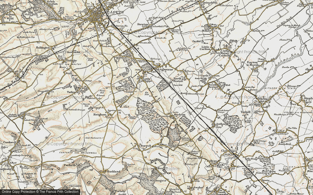 Old Map of Historic Map covering Legbourne Wood in 1902-1903