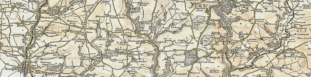 Old map of Whitefield Down in 1900