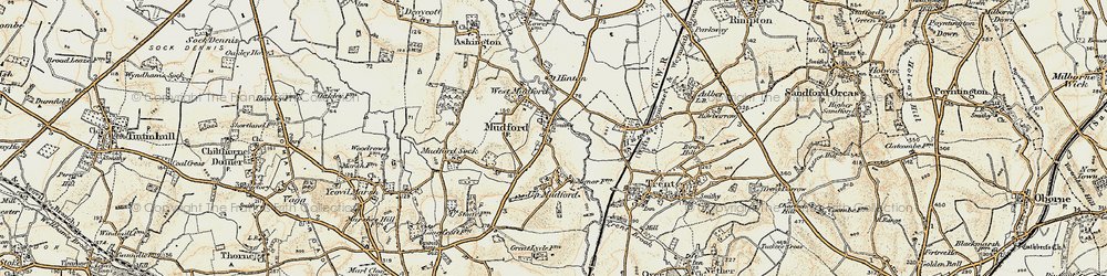 Old map of Mudford in 1899