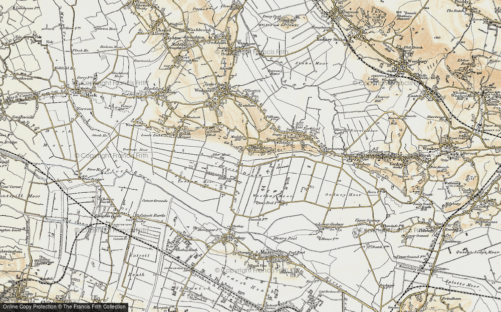 Old Map of Mudgley, 1898-1900 in 1898-1900