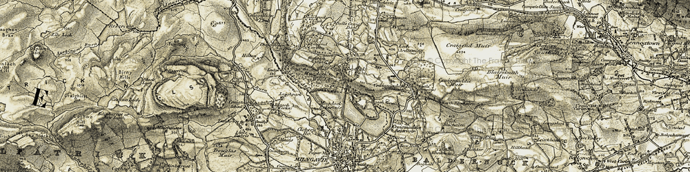 Old map of Allander Water in 1904-1907