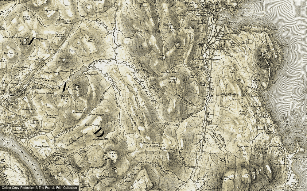Old Map of Historic Map covering Leac Choinnich in 1908-1909