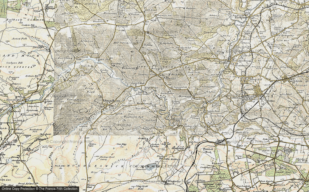 Old Map of Historic Map covering Lane Head in 1901-1904