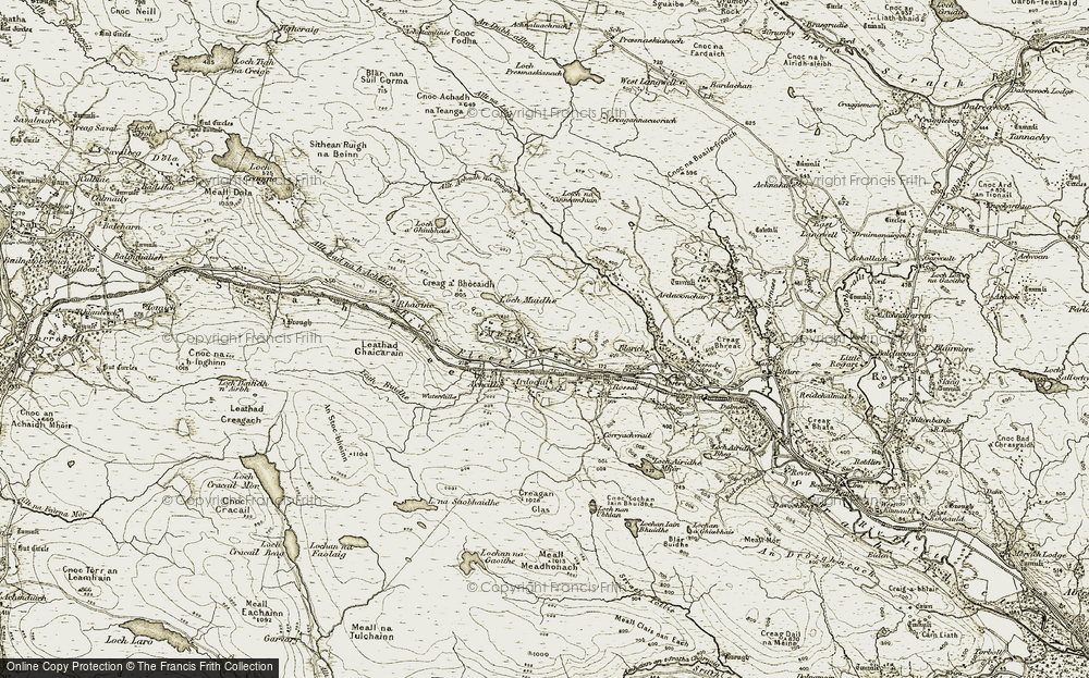 Old Map of Historic Map covering Allt Bad na h-Achlaise in 1910-1912