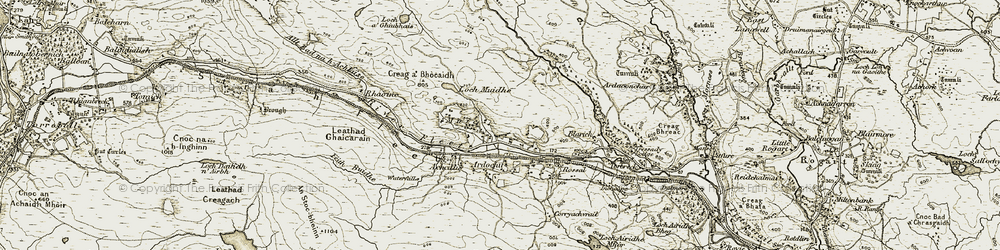 Old map of Allt Bad na h-Achlaise in 1910-1912