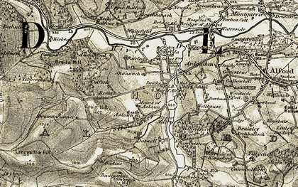 Old map of Woodend in 1908-1910