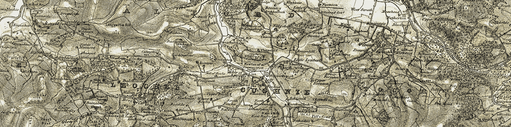 Old map of Tillychetly in 1908-1909